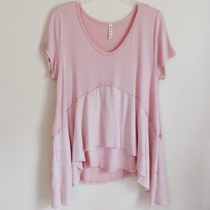 Mts Basic Pale Pink Flowy Tiered T-Shirt